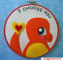 Charmander Embroidery Hoop by iggystarpup