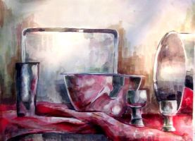Watercolor Still life in Red by leftoverporkshoulder