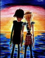 Hiccup and Astrid Sunset by Taipu556