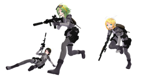 MMD pose with gun sharing. by johneugene