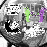 Promotional Street art style stickers: Music Bands by GiselleLlamas