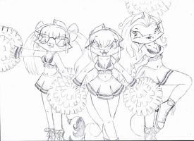 Sketch - Cheer Cat Girls by Fificat