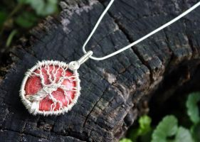 Red Coral Tree of Life Pendant by Create-A-Pendant