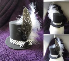 Black and white polka-dot mini top hat by MelissaRTurner