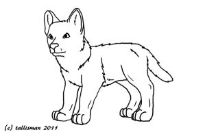 FREE Wolf Pup line art by TallyBaby13