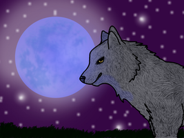 Blue Moon Wolf by RainDreamSezMeow