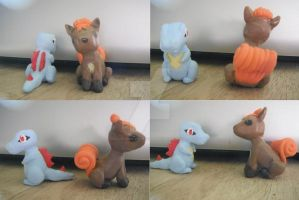 Totodile and Vulpix clay figures -Pokemon- by lonesome-wolf-child
