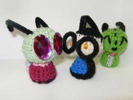 Amigurumi Zim, Dib, and GiR by Aries-on-Mars