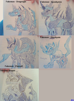 School doodles 1 - Dragons and Fakemon by dreamin-8-bit