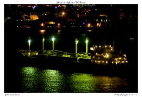 Ship at night on DE River by yellowcaseartist