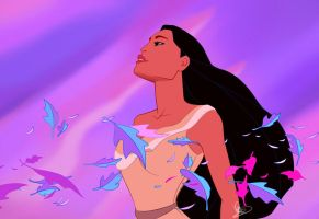 Digital Coloring of my Pocahontas Sketch by deepessence82