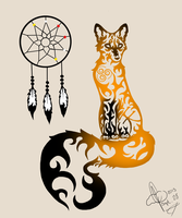 Tribal Fox Colored by xxleaftrailxx