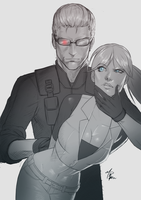 COMMISSION - Claire + Wesker sketch by R62