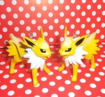 SOLD Cute Jolteon figure earrings by KawaiiMoon24
