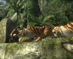 Lara near the tigers by Chriss2010