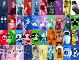Character Collage iPad Wallpaper by Superblah12