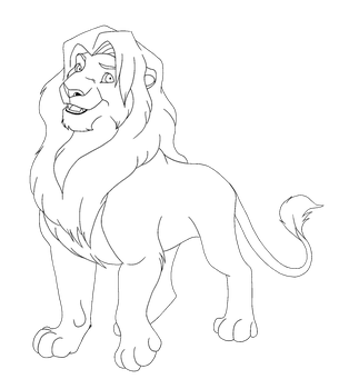 TLK - Male Lion Lineart FREE by NeanTheDemon