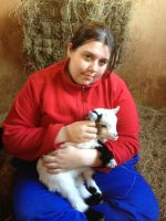 Me with a Pygmy goat Kid XD by TowaTheStallion45