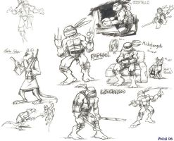 TMNT pen sketches by Kobb