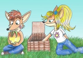 Crash and Coco on a picnic by Turquoisephoenix