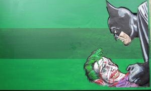 Batman and the Joker Wood carving by scenicart
