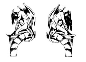 Gargoyles and Arches - Tattoo Design by rockgem