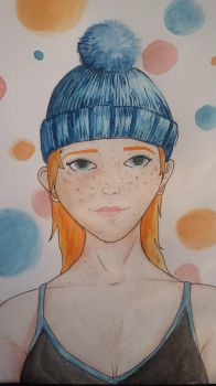 Girl in wooly hat by donut1280