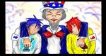 colored Uncle sam and nephews by highkickfan