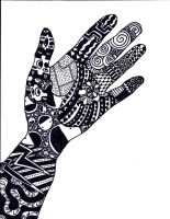 My hand in Zentangle by d3sc3nd3d-on3