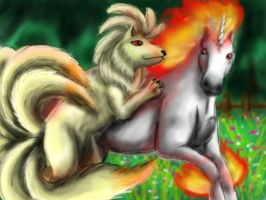 Rapidash and Ninetails for AutumnDaybreakluver by pie-lord