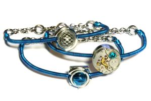 Blue CyberSteam Clockpunk Bracelet by CatherinetteRings