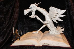 Dragon Battle Book Sculpture by wetcanvas