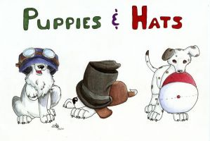 Puppies and Hats by BlueLumi