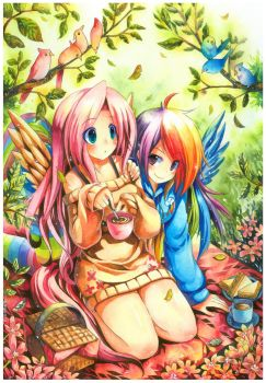 FlutterShy And Rainbow Dash by emperpep