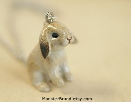 Floppy Ear Rabbit Necklace by MonsterBrandCrafts