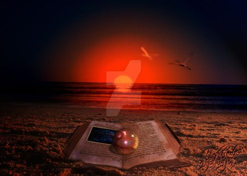 old book under the sunset by Tom-in-Silence