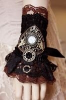 Black n chocolate ruffle cuff by Pinkabsinthe