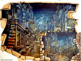 two breaches to Diagon Alley :) by WormholePaintings