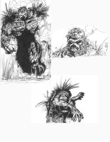 Quick SwampThing sketches by CaptainJohnnyGarcia
