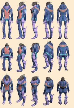 Full Body Turian - Model Reference by Troodon80