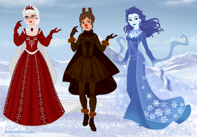 Mrs. Clause, Mrs. Rudolph and Mrs. Frost by msbrit90