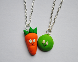 Pea and Carrot Friendship Necklaces by ClayRunway
