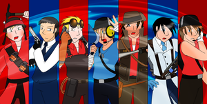 TF2 - RED and BLU Fighters by Gav-Imp