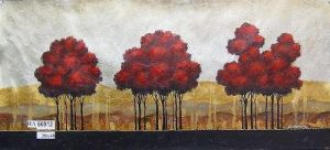 Rolling Hills Red Trees by ModernArtist123