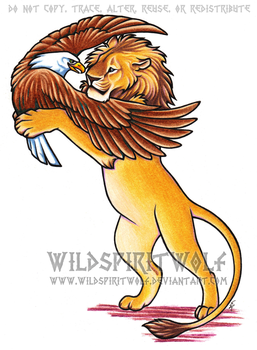 Lion And Eagle Color Tattoo by WildSpiritWolf