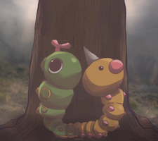 Day 678 and 679 - Caterpie and Beedle | Weedle by AutobotTesla