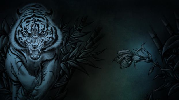 Tiger with butterfly by Eldunary