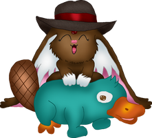 The platypus and the cabbit by Fallonkyra