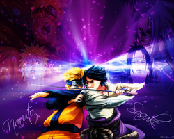 Naruto and Sasuke Wallpaper by MelloFan