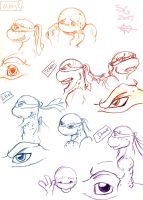 TMNT Character Sketchdump by Goldbryn